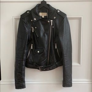 Micheal Kors classic leather moto jacket Sz Small